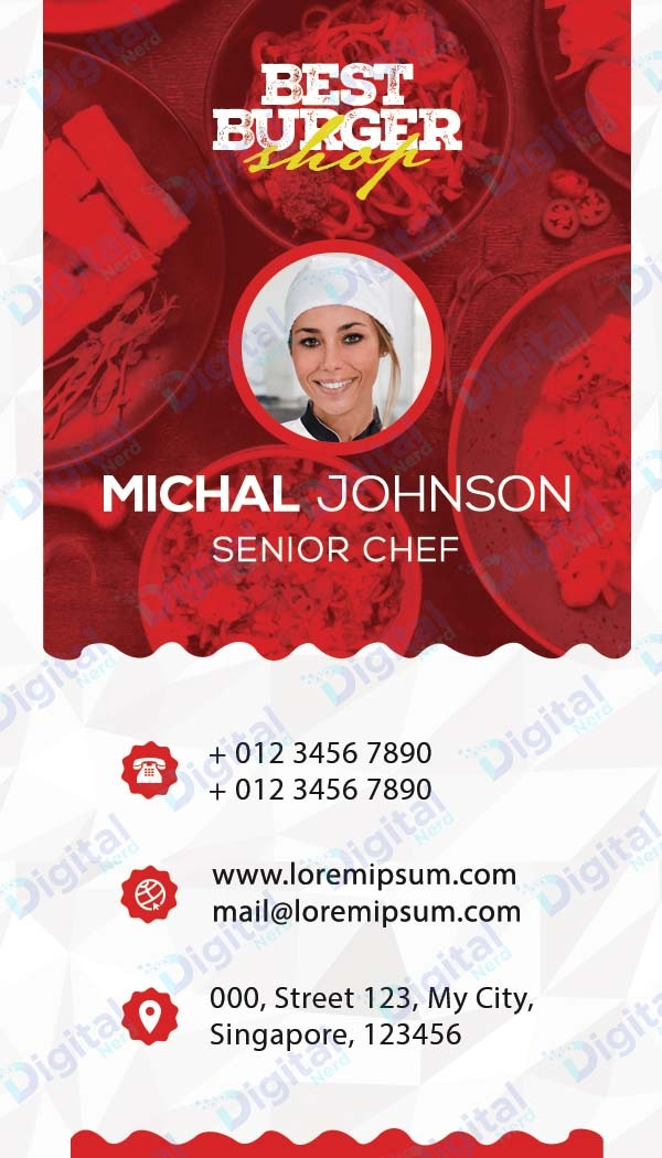 Digital business card for chef